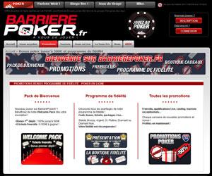 Barrière Poker : Bonus 1er dépôt jusqu'à 500 euros et tournois gratuits