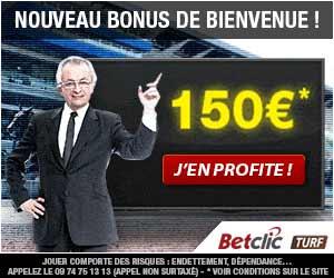 BetClic Turf : Le bonus de 1er dépôt est à 150 euros