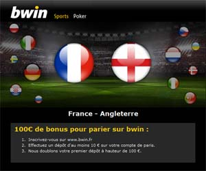 BWin Paris Sportifs : Bonus de 100 euros pour parier sur l'UEFA Euro 2012