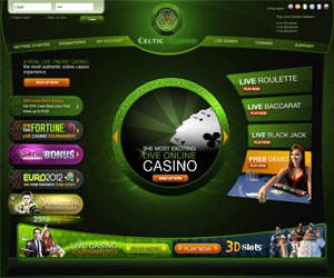 Celtic Casino : 50% de bonus Cash Back jusqu'à 100€ et croupières en direct