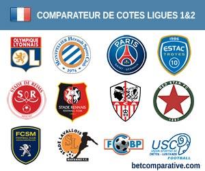 Comparateur de cotes des matchs de Football Français Ligues 1 et 2