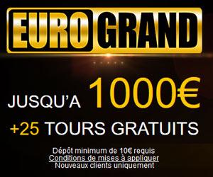 Casino EuroGrand - 1000 euros de Bonus de bienvenue
