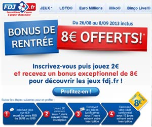 FDJ : Bonus de rentrée de 8 euros offerts aux nouveaux inscrits