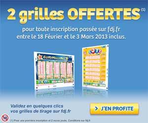 Française des Jeux - 2 grilles de jeu Loto ou d'EuroMillions offertes