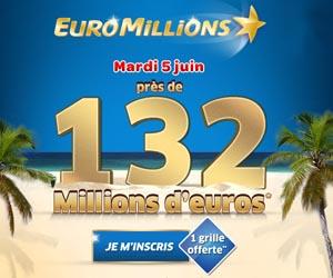 Euromillions - 1 grille offerte en bonus de bienvenue