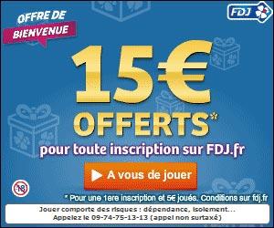 FDJ - 15 euros offerts aux nouveaux inscrits du 10 au 28 septembre 2012