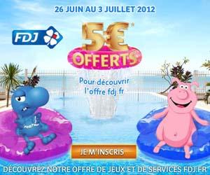 FDJ : Offre découverte 5 euros offerts aux nouveaux inscrits du 26 juin au 3 juillet 2012