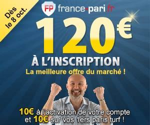 France-Pari : du 8 au 31 octobre 2012 bonus exceptionnel de 120 euros