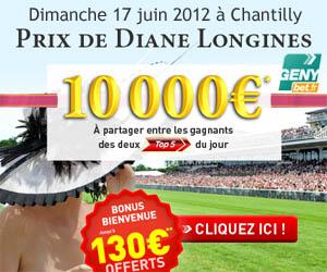 GENYbet - 10 000 euros pour les gagnants des 2 Top5 le dimanche 5 juin 2012 pour le Prix de Diane Longines