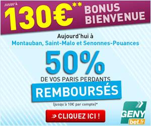 GENYbet : Lundi 28 mai 2012 50% des paris perdants remboursés jusqu'à 10 euros