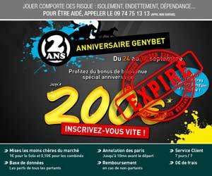 GENYbet : Le bonus repasse à 200 euros