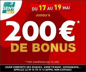 Le bonus GENYbet passe de 130 à 200 euros du jeudi 17 au samedi 19 mai 2012