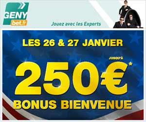 GENYbet : Bonus de 250 euros les 26 et 27 janvier 2013