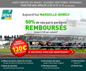 GENYbet rembourse 50% des paris perdants sur la réunion de Marseille-Borély du vendredi 7 septembre 2012