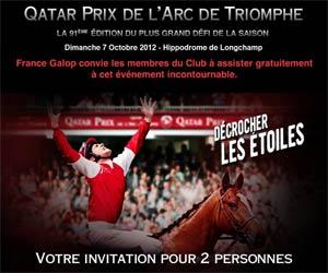 Qatar Prix de l'Arc de Triomphe 2012 : Invitation pour deux
