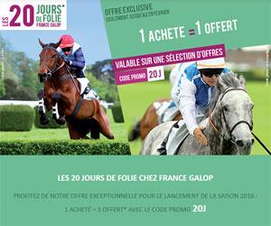 France Galop : 1 acheté = 1 offert grâce à un code promo