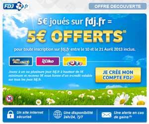 Offre nouveaux inscrits FDJ : 5 euros joués = 5 euros offerts