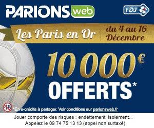 Jusqu'à 10000 euros à gagner avec Les Paris en Or de Parions Web