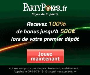 PartyPoker.fr - Bonus de bienvenue jusque 500 euros