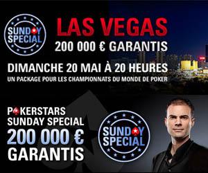 Partez aux WSOP 2012 à Vegas avec PokerStars grâce au Package du Sunday Special