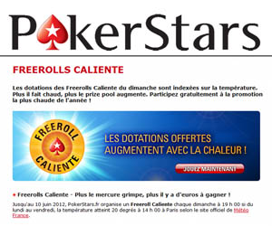 PokerStars - Les tournois FreeRolls Caliente
