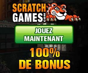 Scratch Games - Bonus de 100% sur le 1er dépôt pouvant atteindre 200 euros