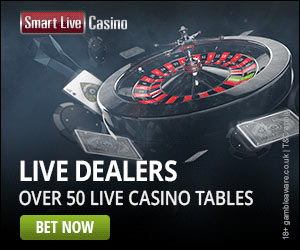 SmartLive Casino: 150% match bonus up to £300 for new players