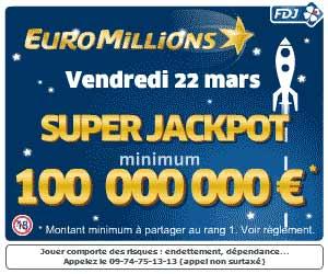 FDJ : Super JackPot de 100 millions au tirage de l'EuroMillions du 22 mars 2013