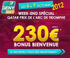 GENYbet : bonus de bienvenue jusqu'à 230 euros les 6 et 7 octobre 2012