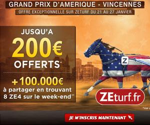 ZEturf : Bonus de 200 euros + 100000 euros à paratager