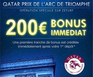 Zeturf : Bonus exceptionnel de 200 euros pour le Qatar Grand Prix de l'Arc de Triomphe