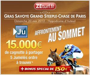 Gras Savoye Grand Steeple Chase : Cagnotte de 15000 euros à gagner sur ZEturf