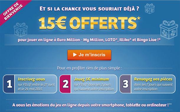 FDJ offre 15 euros en cadeau de bienvenue