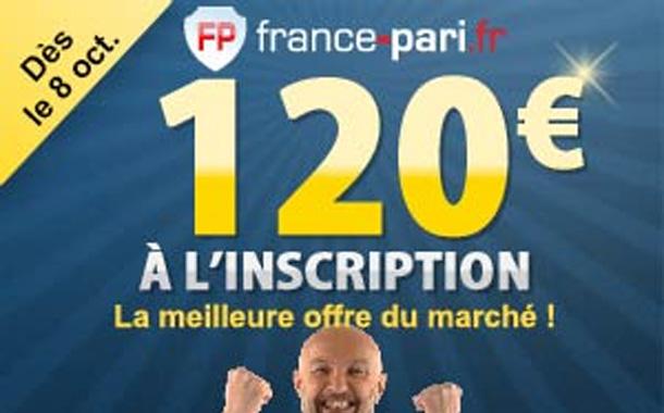 France-Pari : du 8 au 31 le bonus est de 120 euros