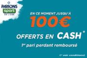 ParionsSport en ligne : le bonus de 100€ disponible à nouveau